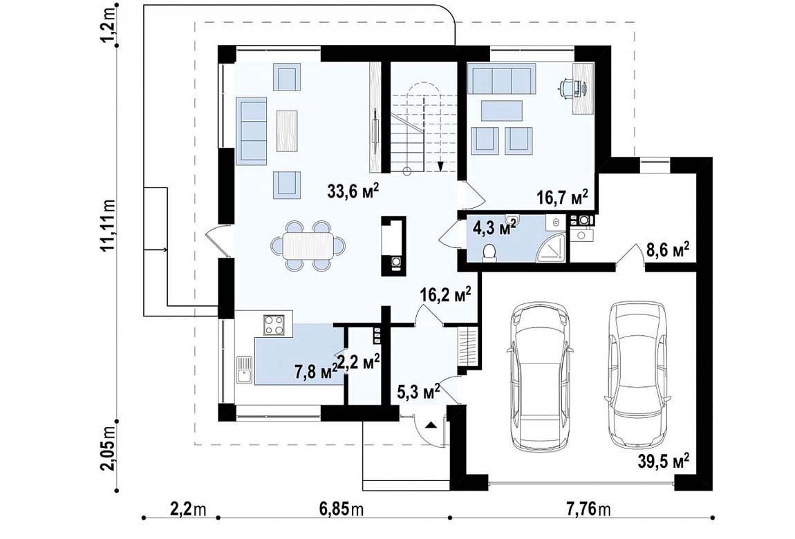 План N1 проекта дома из блоков АСД-1797