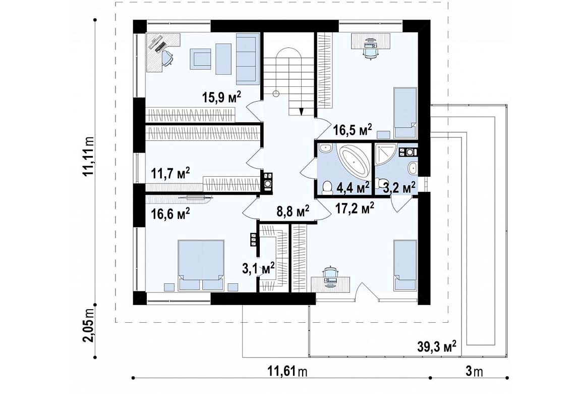 План N2 проекта дома из блоков АСД-1797