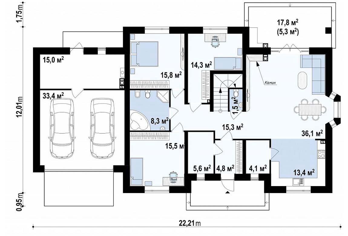 План N1 проекта дома из блоков АСД-1799