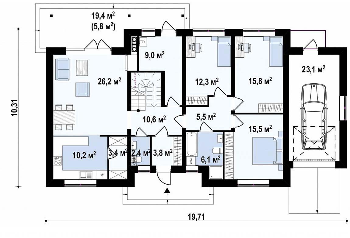 План N1 проекта дома из блоков АСД-1872