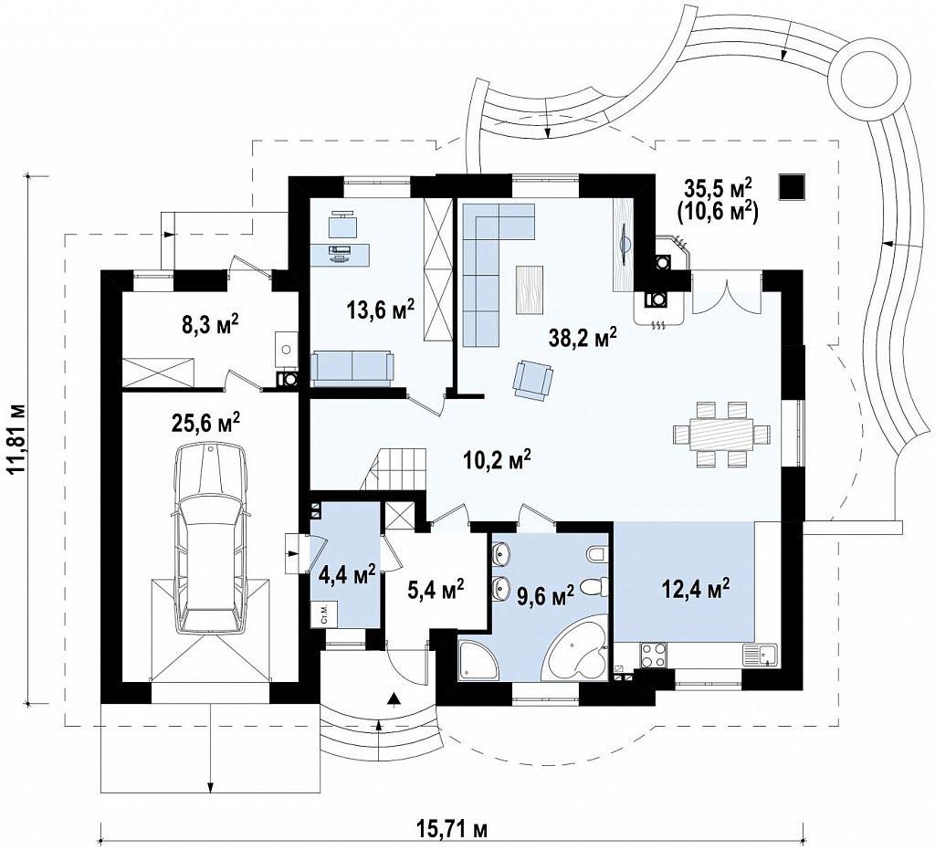 План N1 проекта дома из блоков АСД-1874