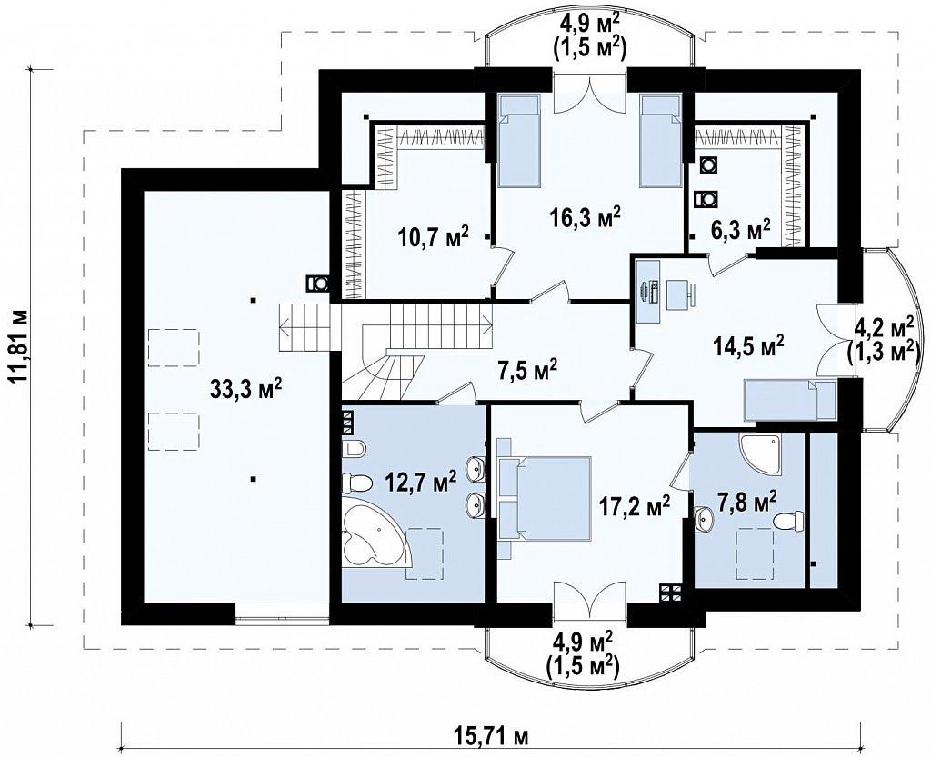 План N2 проекта дома из блоков АСД-1874
