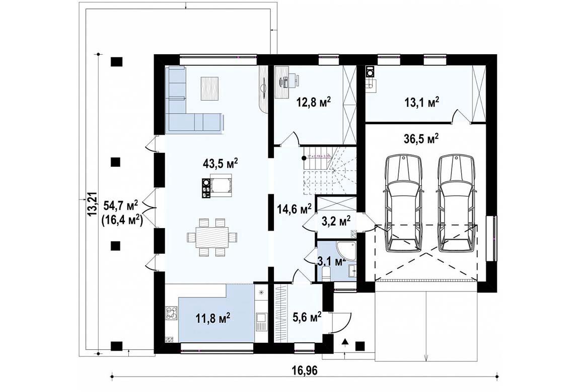 План N1 проекта дома из блоков АСД-1875