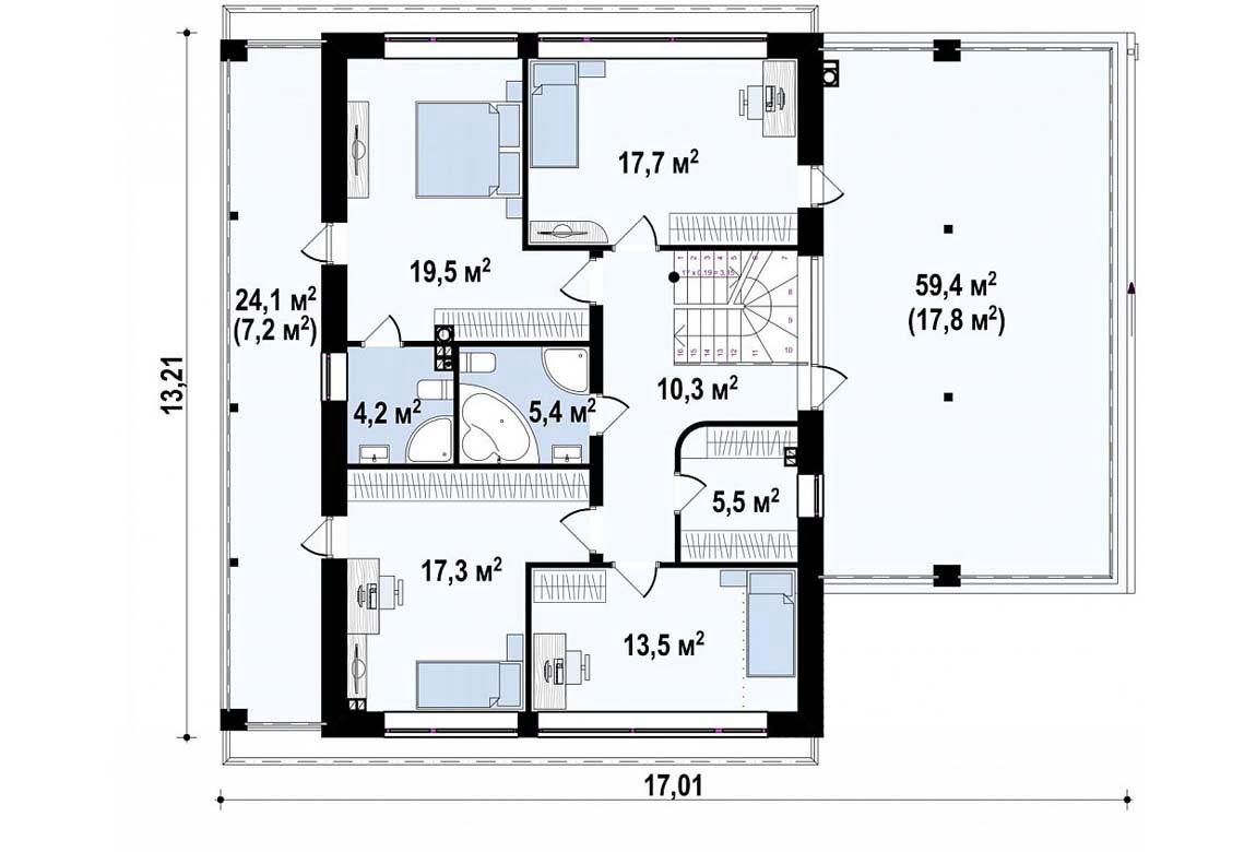 План N2 проекта дома из блоков АСД-1875