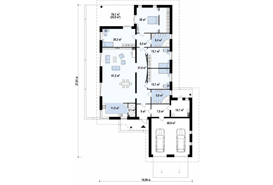 План N1 проекта дома из блоков АСД-1878