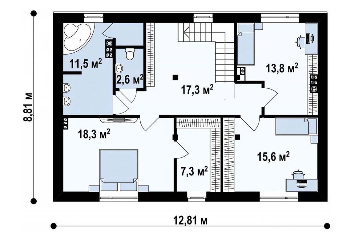 План N2 проекта дома из блоков АСД-1879