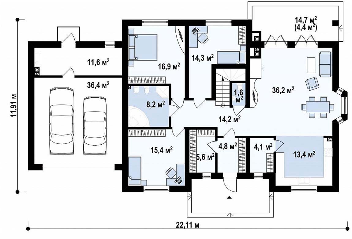План N1 проекта дома из блоков АСД-1880