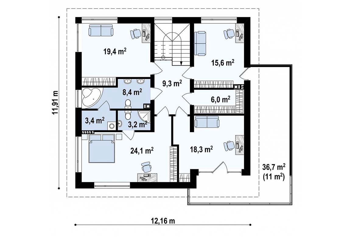План N2 проекта дома из блоков АСД-1881