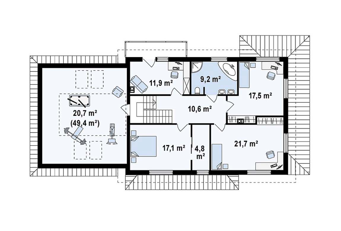 План N2 проекта дома из блоков АСД-1882