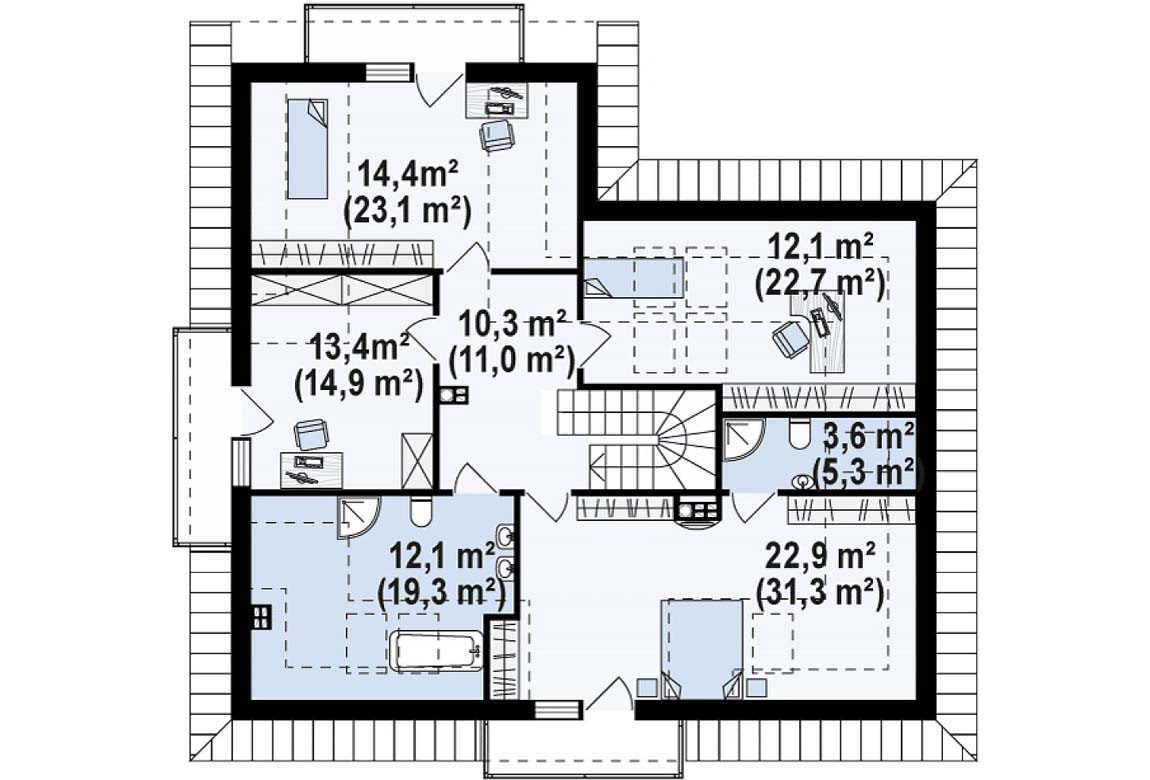 План N2 проекта дома из блоков АСД-1883