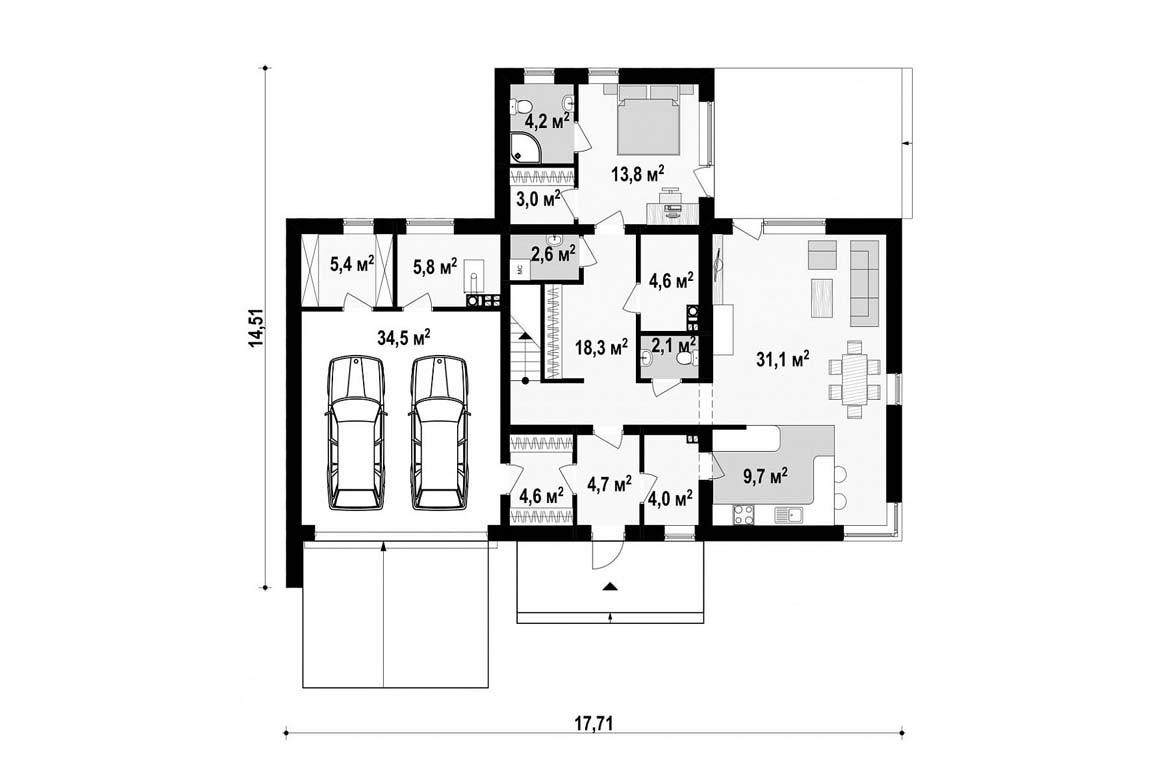 План N1 проекта дома из блоков АСД-1884