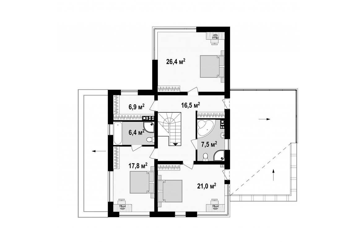 План N2 проекта дома из блоков АСД-1884
