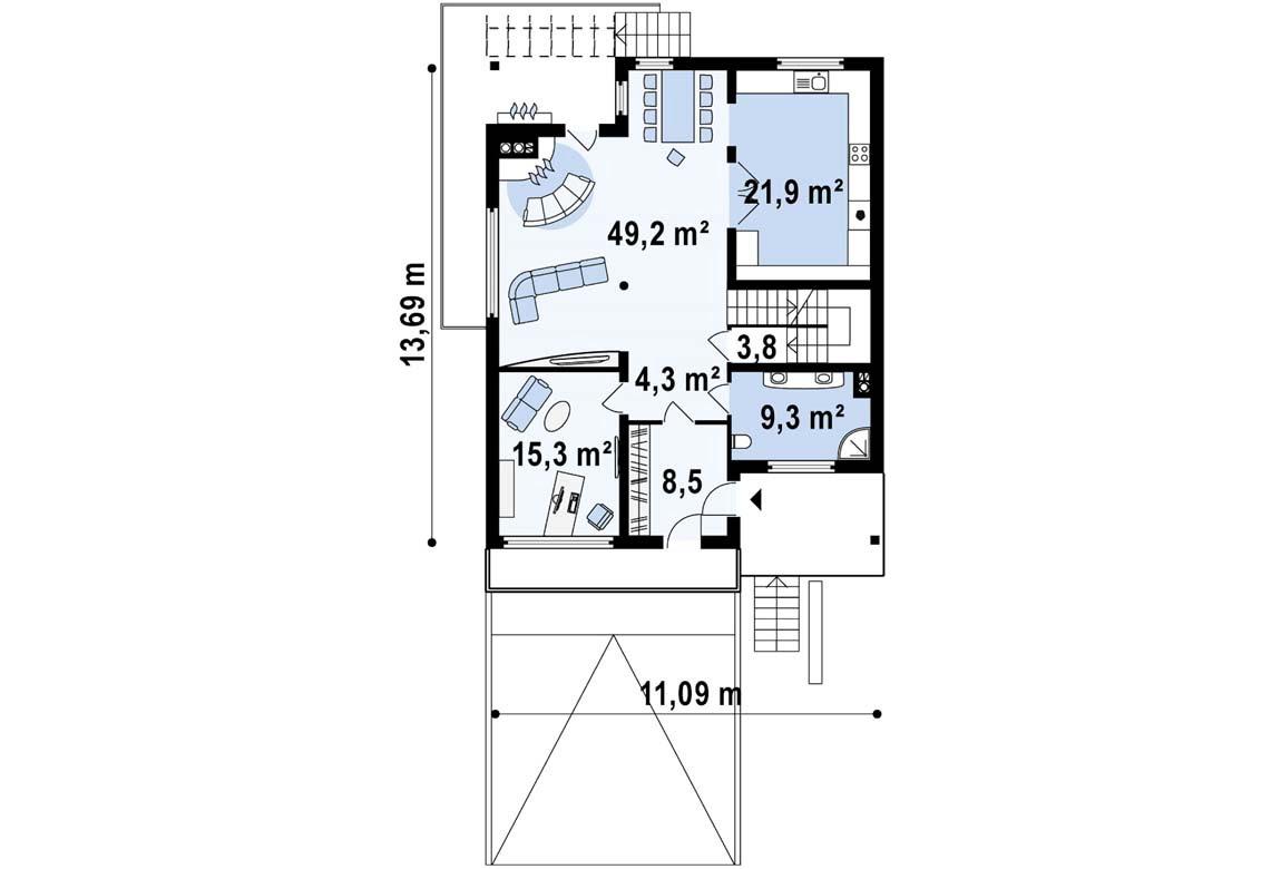 План N2 проекта дома из блоков АСД-1885