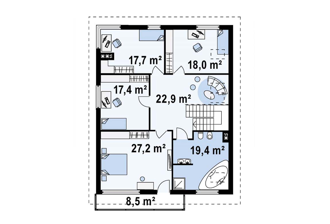 План N3 проекта дома из блоков АСД-1885