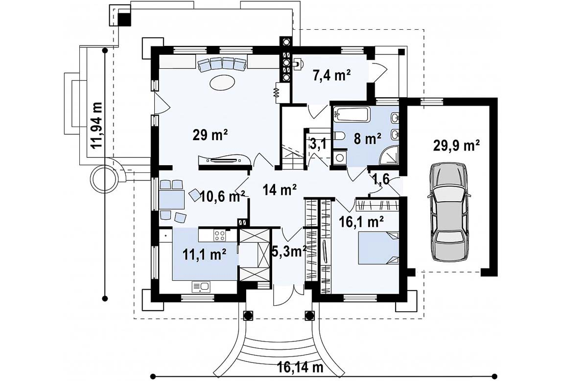 План N1 проекта дома из блоков АСД-1886