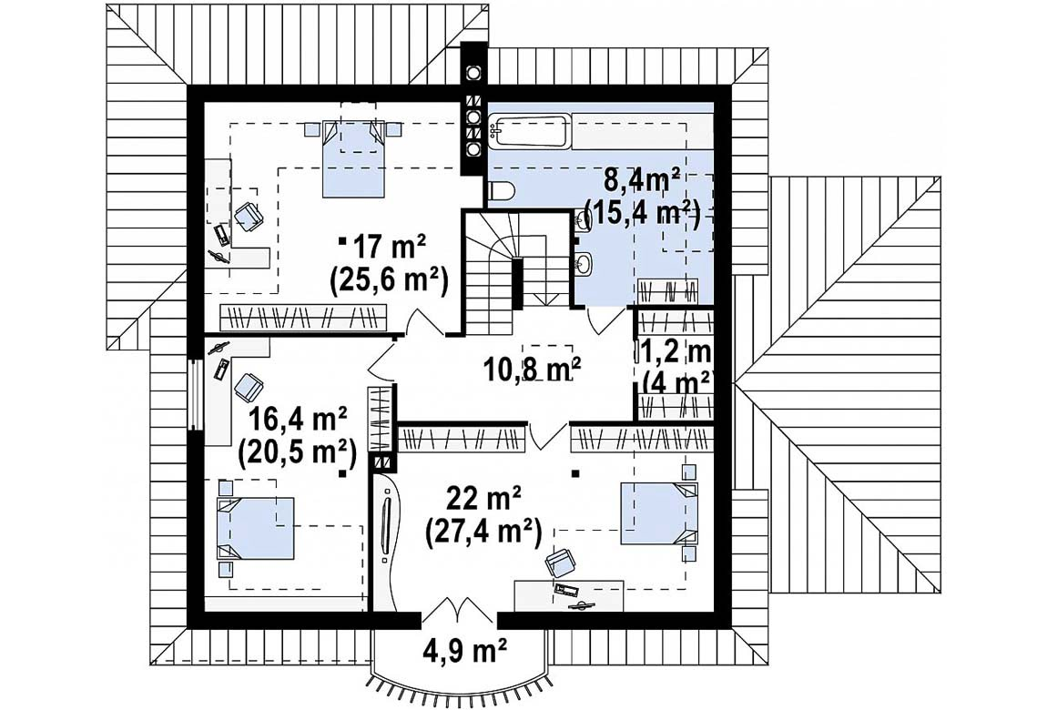 План N2 проекта дома из блоков АСД-1886