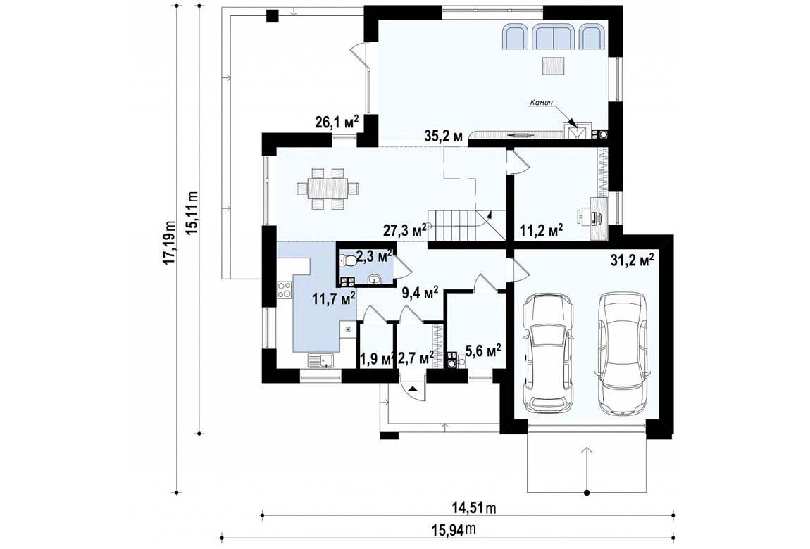 План N1 проекта дома из блоков АСД-1887