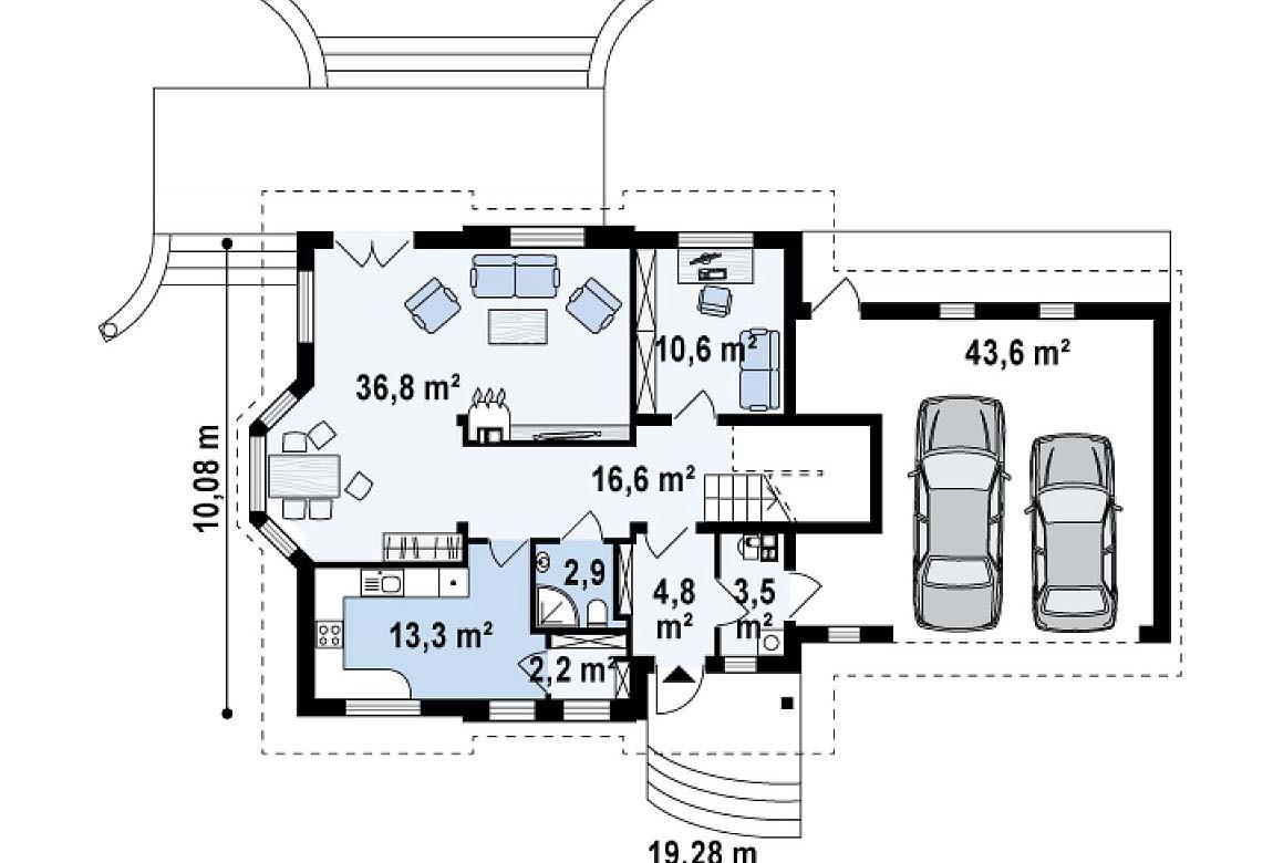 План N1 проекта дома из блоков АСД-1888