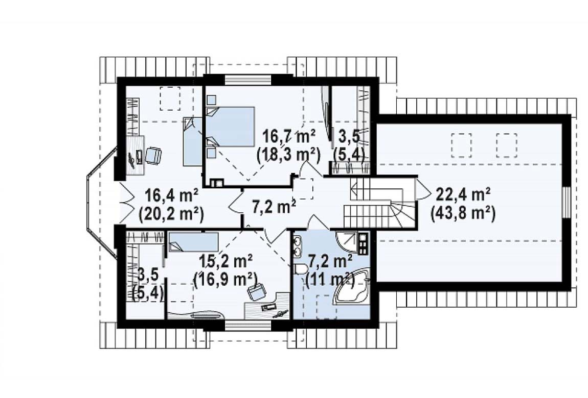 План N2 проекта дома из блоков АСД-1888