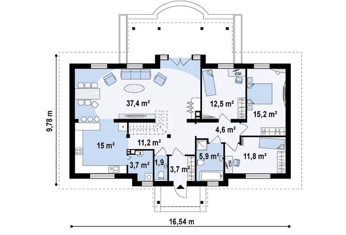 План N1 проекта дома из блоков АСД-1891