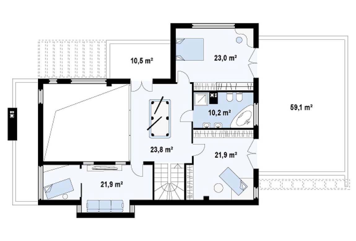 План N2 проекта дома из блоков АСД-1801