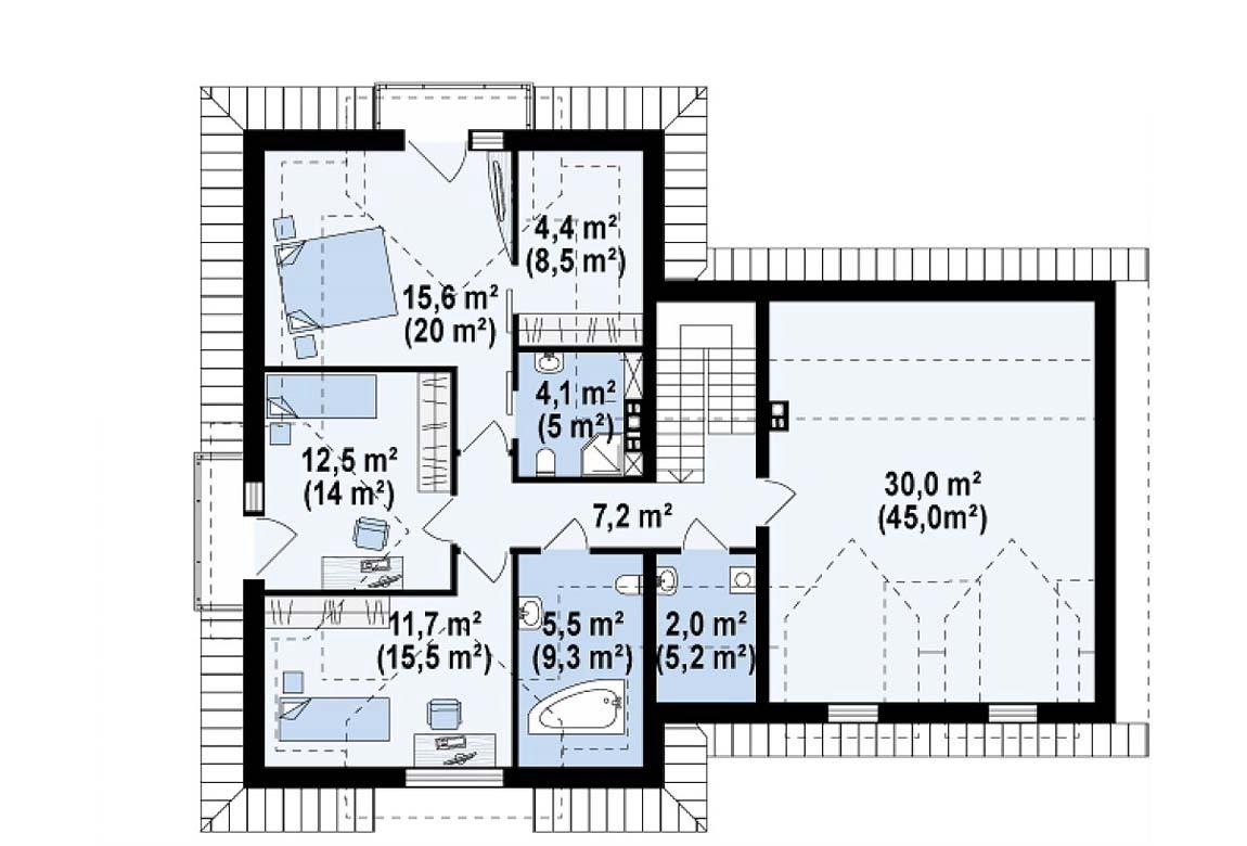 План N2 проекта дома из блоков АСД-1802