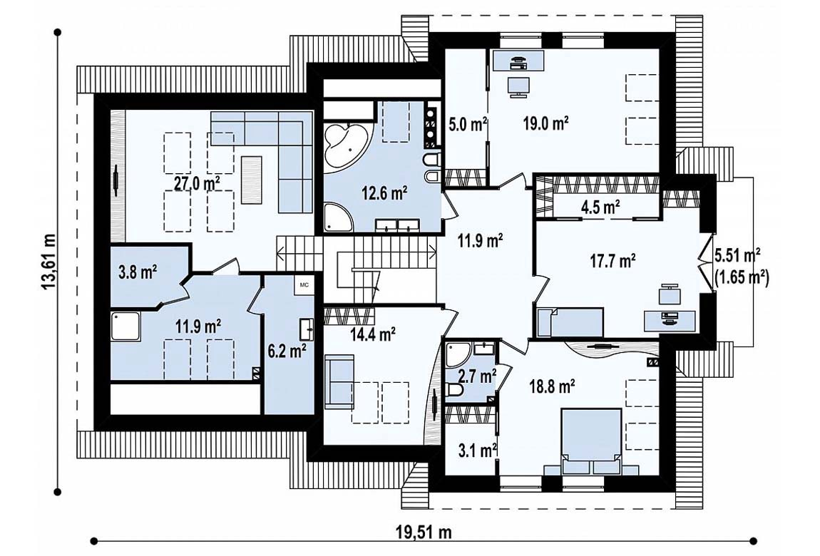 План N2 проекта дома из блоков АСД-1803