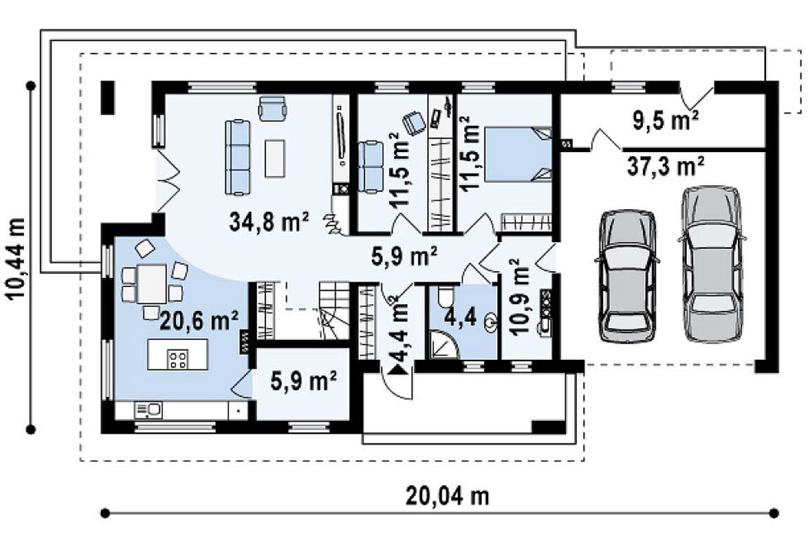 План N1 проекта дома из блоков АСД-1804