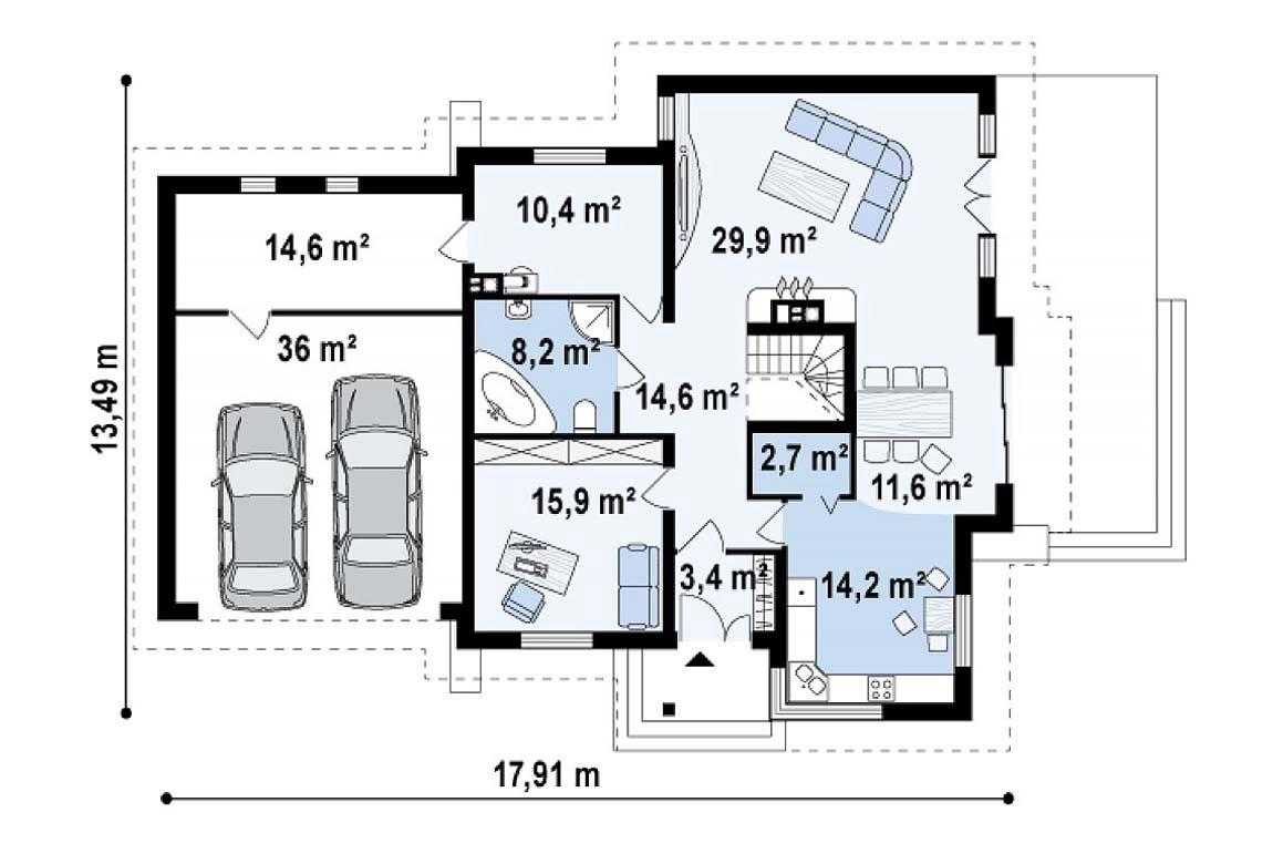 План N1 проекта дома из блоков АСД-1805