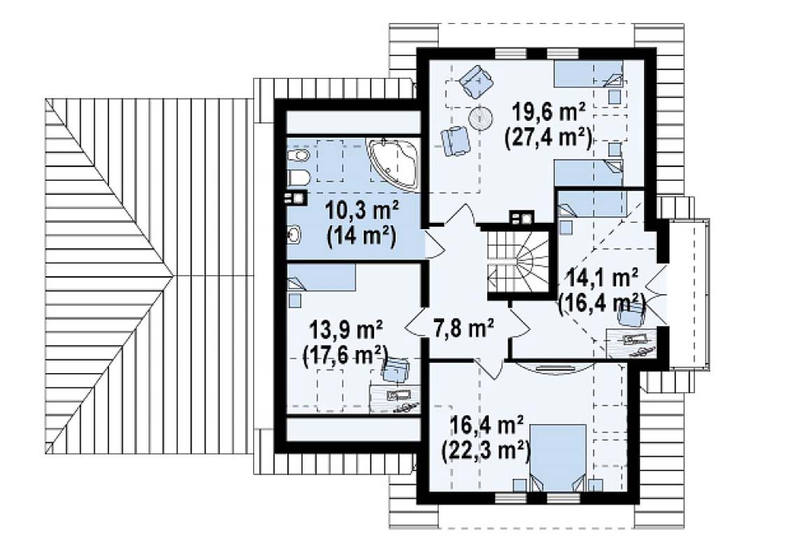 План N2 проекта дома из блоков АСД-1805