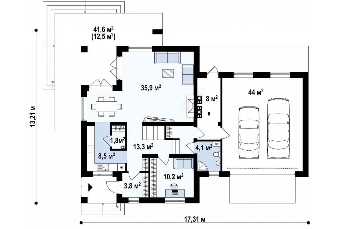 План N1 проекта дома из блоков АСД-1806