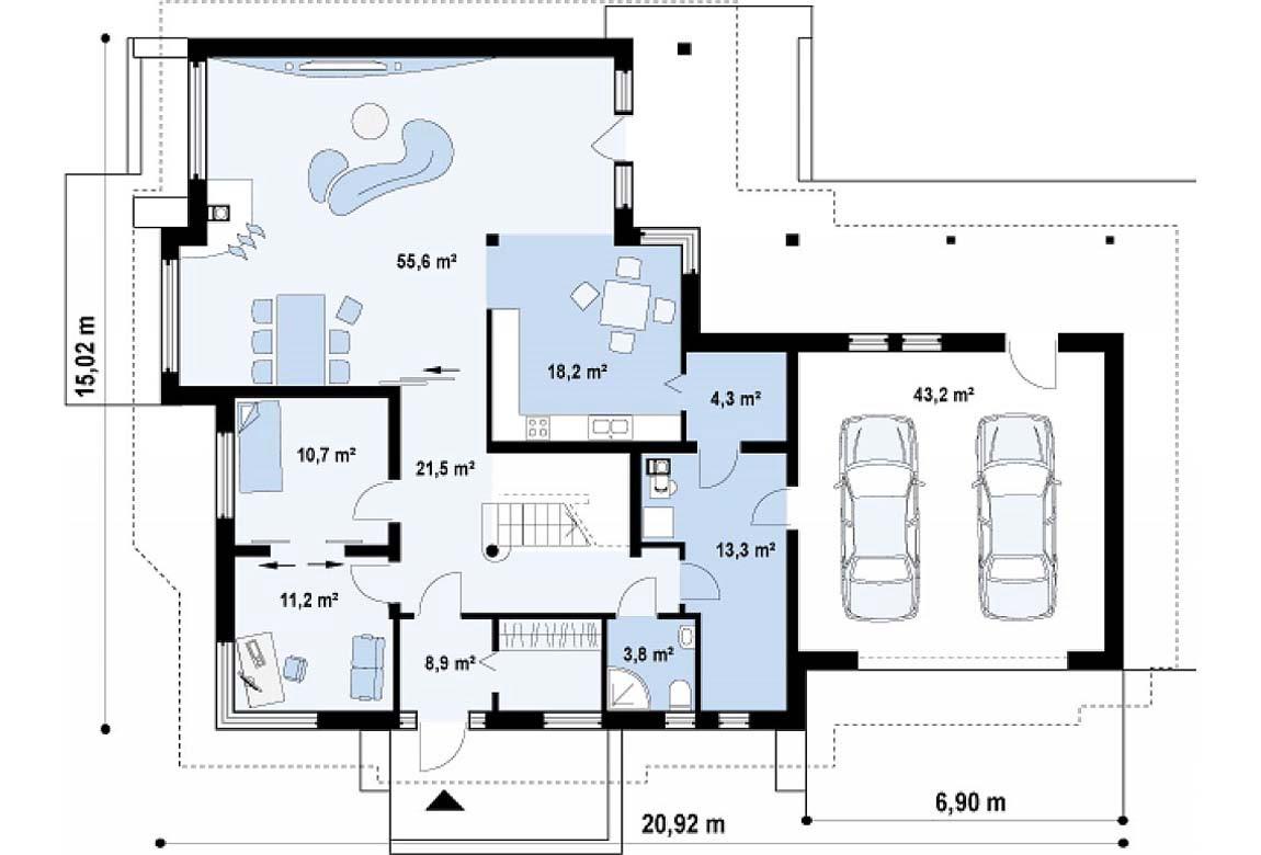 План N1 проекта дома из блоков АСД-1807