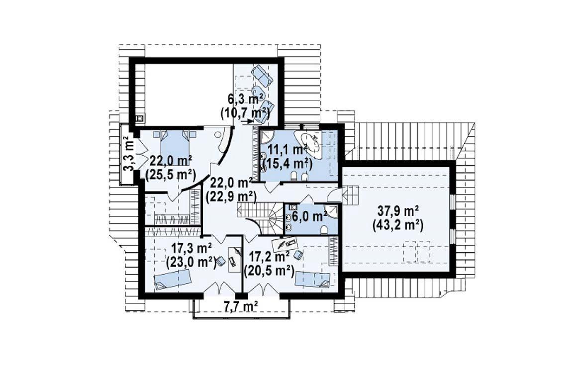План N2 проекта дома из блоков АСД-1807