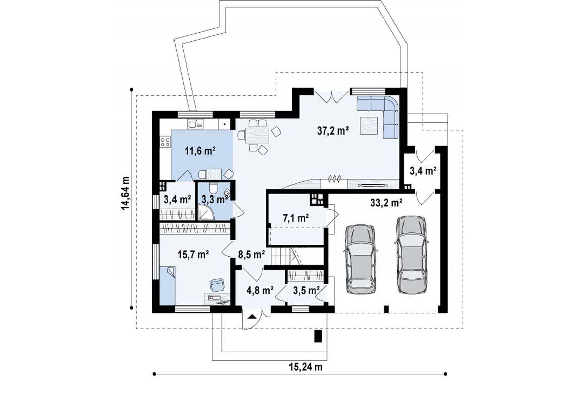 План N1 проекта дома из блоков АСД-1809