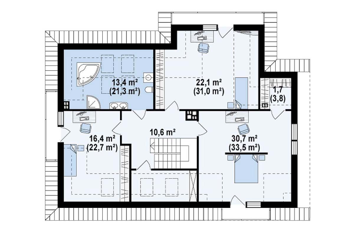 План N2 проекта дома из блоков АСД-1809