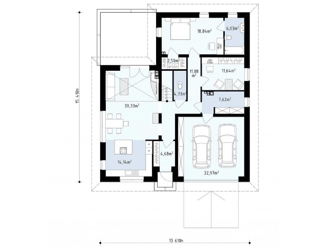 План N1 проекта дома из блоков АСД-1811