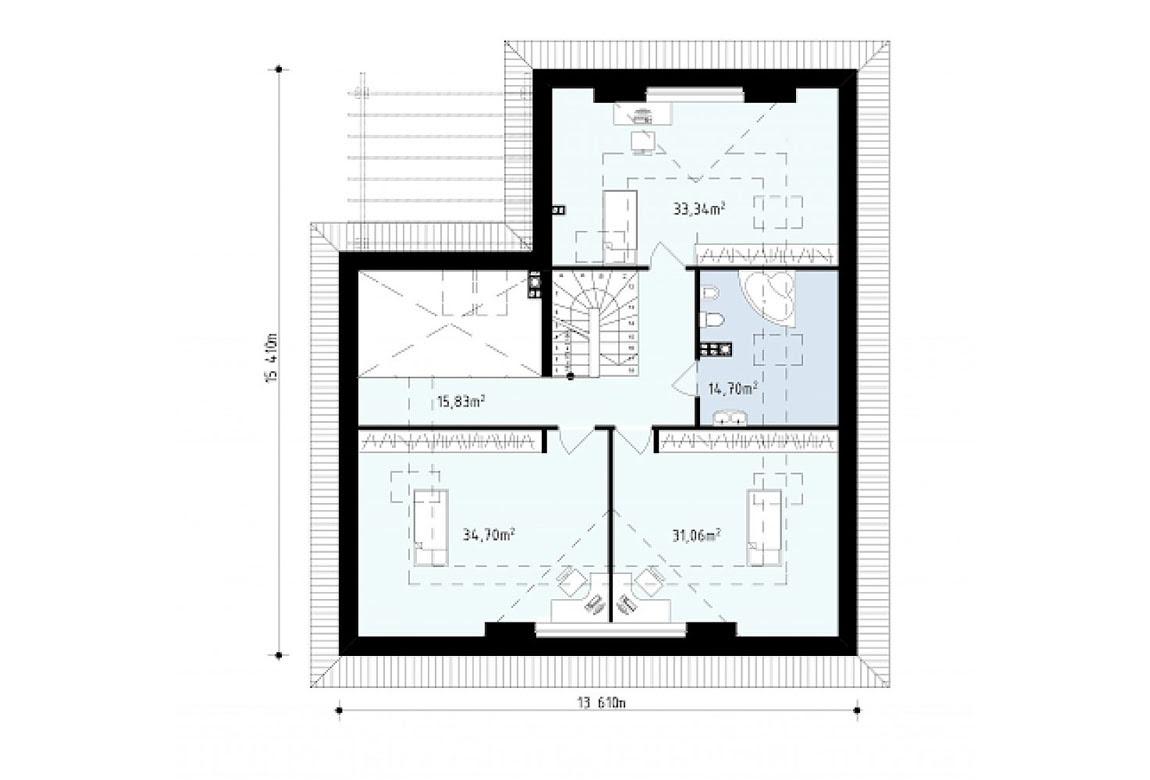 План N2 проекта дома из блоков АСД-1811
