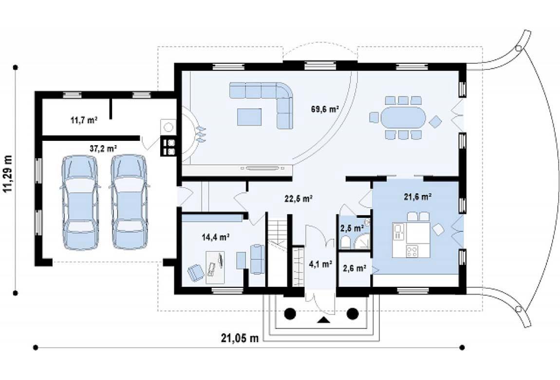 План N1 проекта дома из блоков АСД-1812