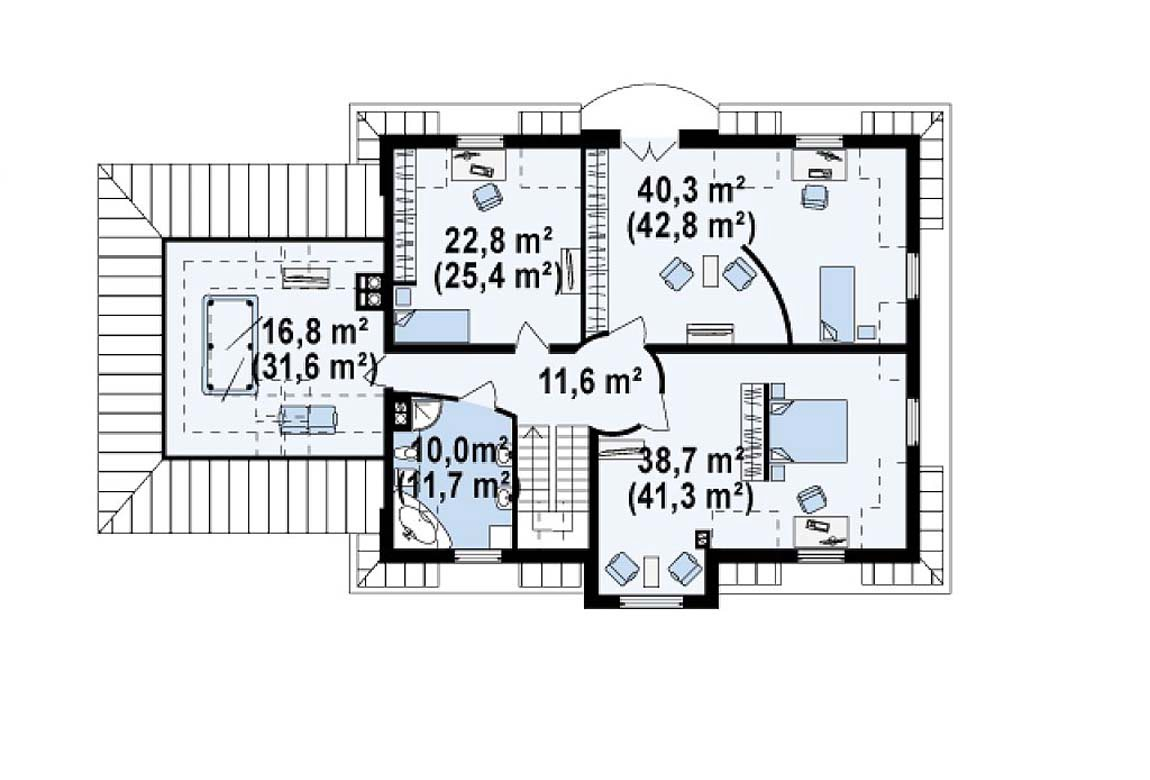 План N2 проекта дома из блоков АСД-1812