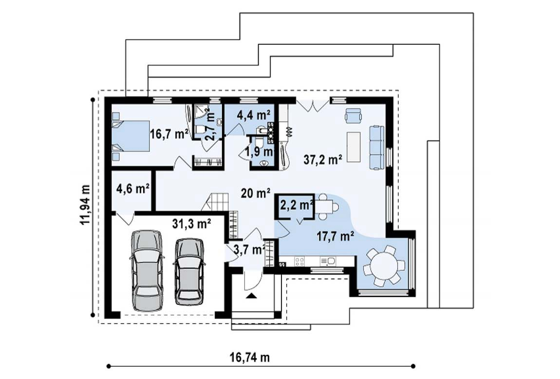 План N1 проекта дома из блоков АСД-1813