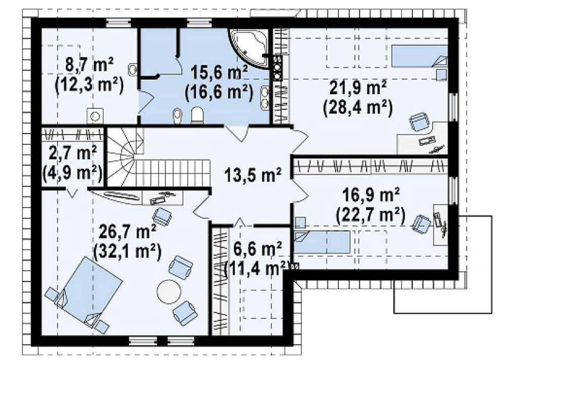 План N2 проекта дома из блоков АСД-1813