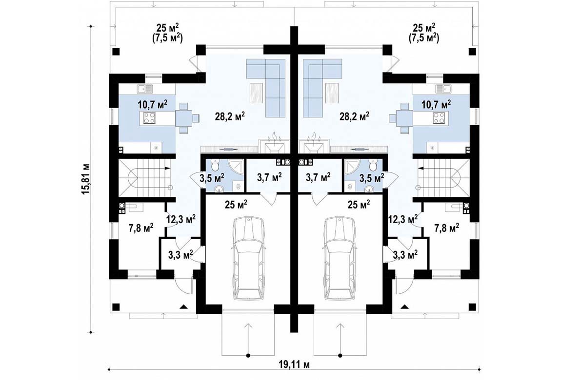 План N1 проекта дома из блоков АСД-1814