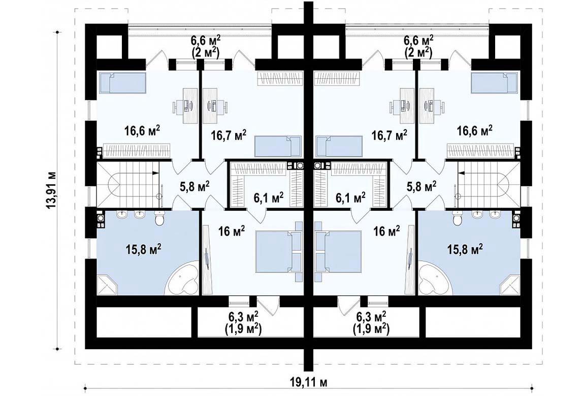 План N2 проекта дома из блоков АСД-1814