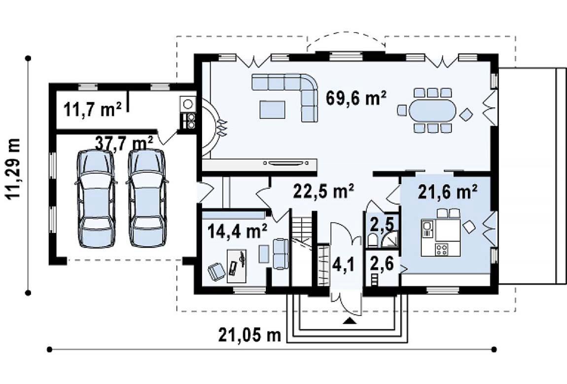 План N1 проекта дома из блоков АСД-1815