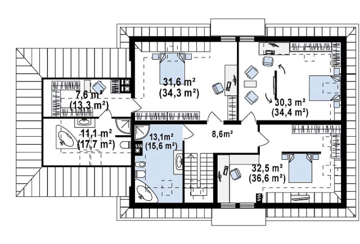 План N2 проекта дома из блоков АСД-1815
