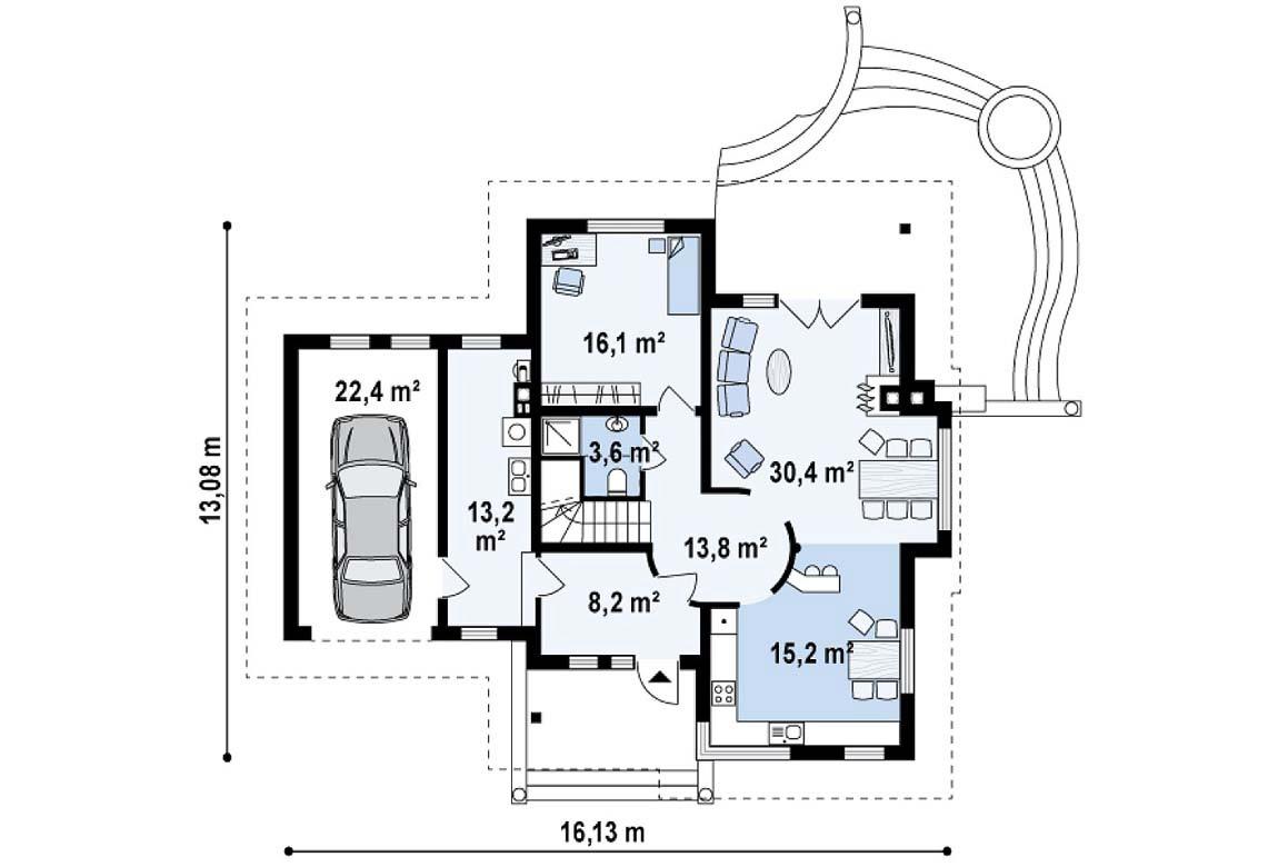 План N1 проекта дома из блоков АСД-1816