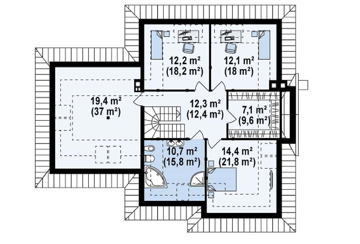План N2 проекта дома из блоков АСД-1816