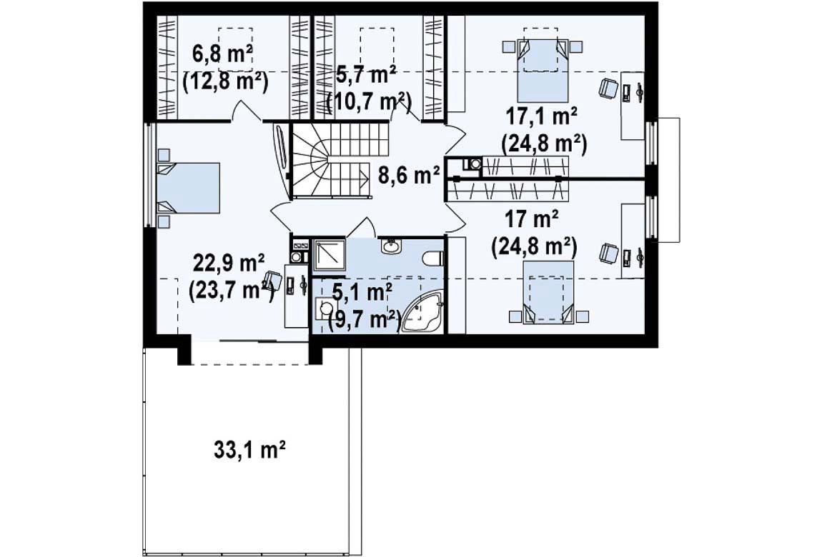 План N2 проекта дома из блоков АСД-1817