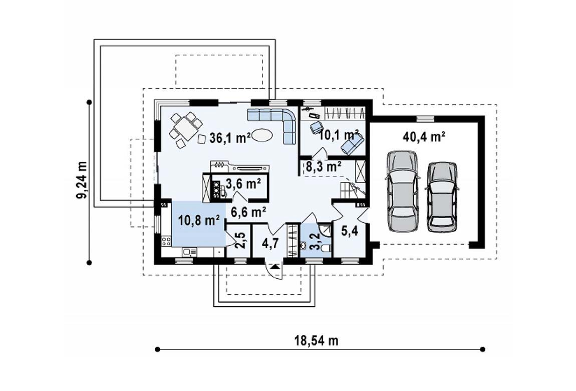 План N1 проекта дома из блоков АСД-1818