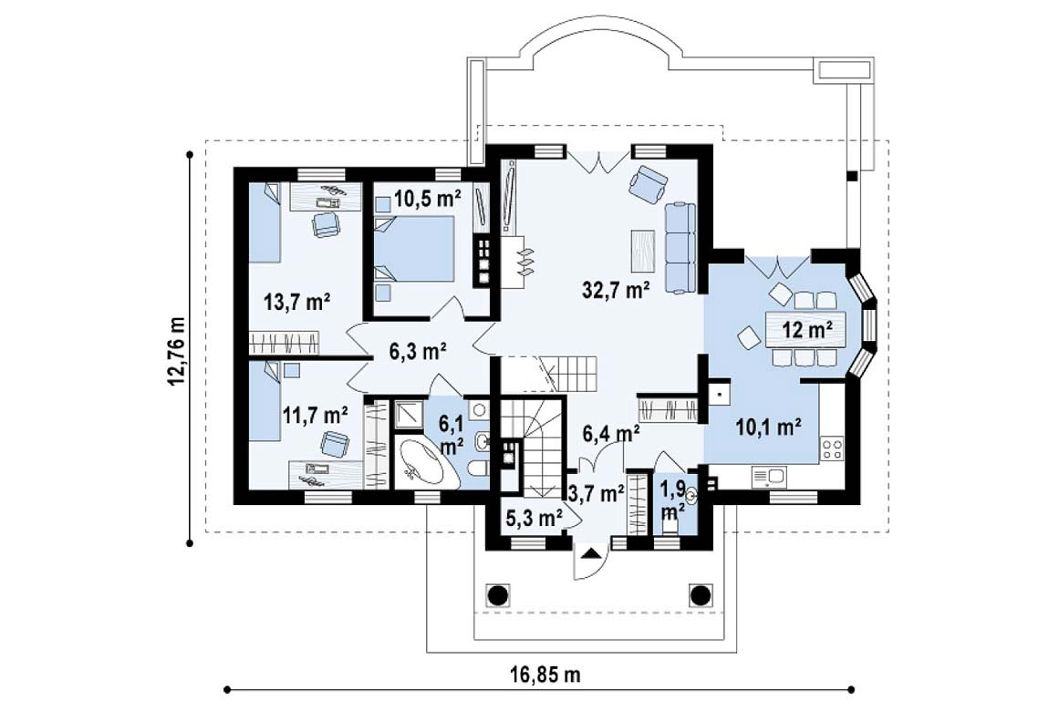 План N1 проекта дома из блоков АСД-1820